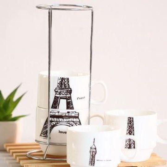 Набор чашек Эйфелева башня На подставке