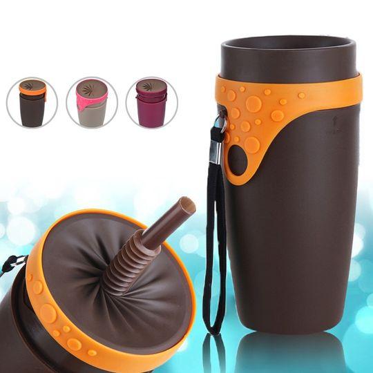 Стакан Непроливайка с трубочкой Spin Cup (Коричневый с оранжевым)