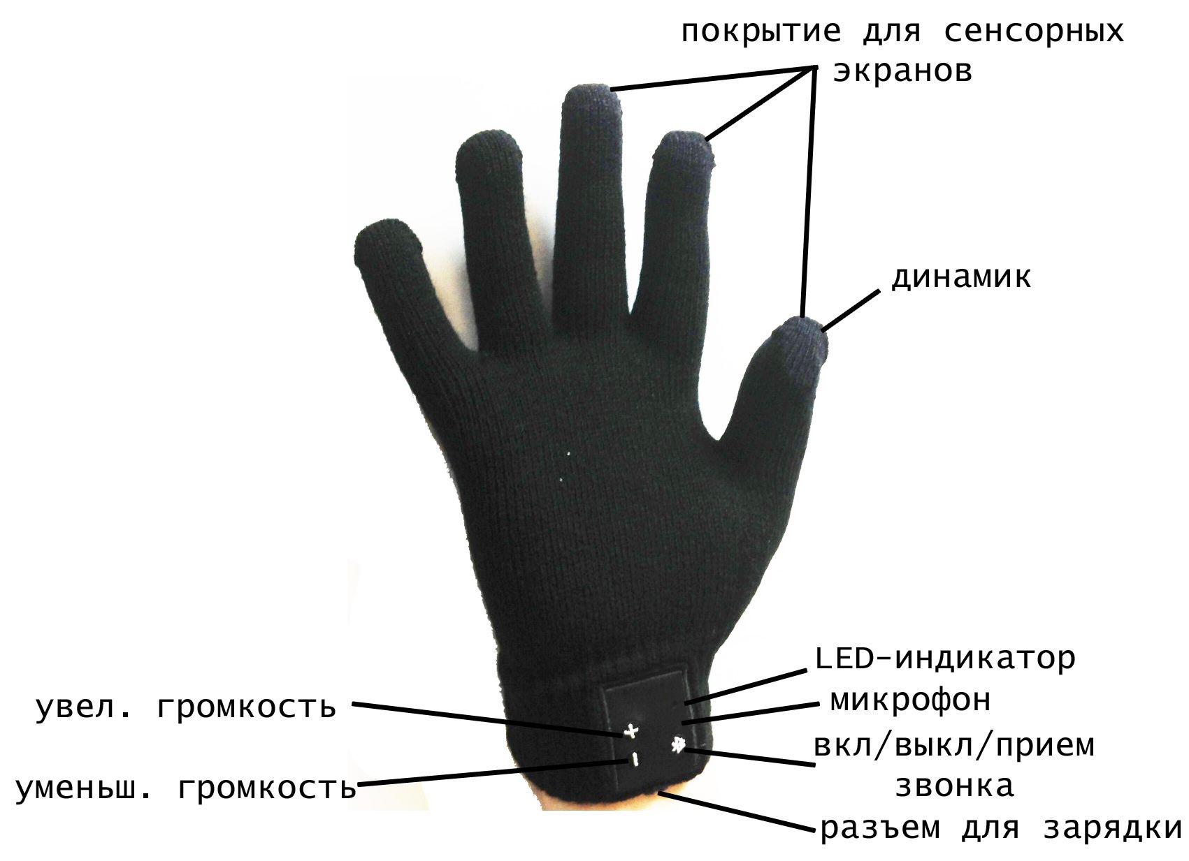 Сенсорные Bluetooth перчатки Гарнитура