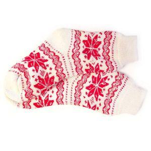 Носки шерстяные белые с красными снежинками