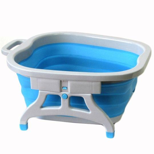 Складная ванночка для ног Foldable Foot Bucket (Серый с синим)
