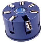 Круглый USB Хаб 7 портов Синий