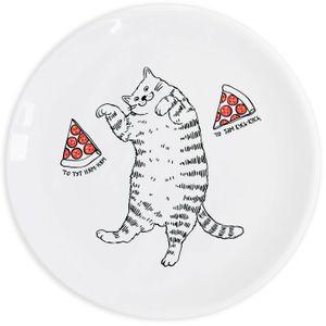 Тарелка Кот с пиццей То тут ням-ням, то там кусь-кусь