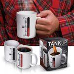 Термокружка Топливная шкала Использование, упаковка, рисунок на горячей и остывшей кружке