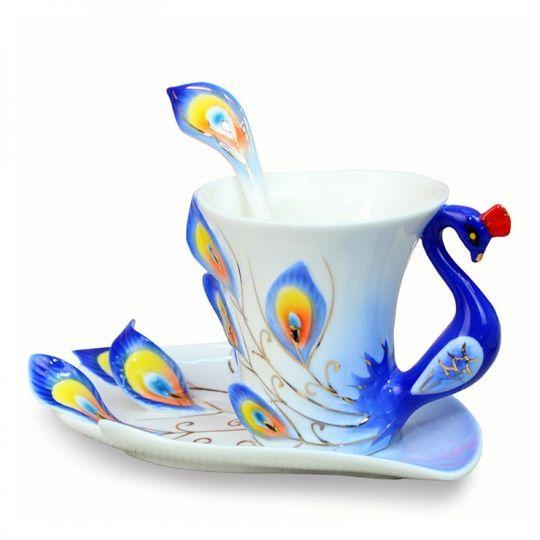 Кружка с блюдцем и ложкой Жар-птица (Синяя)