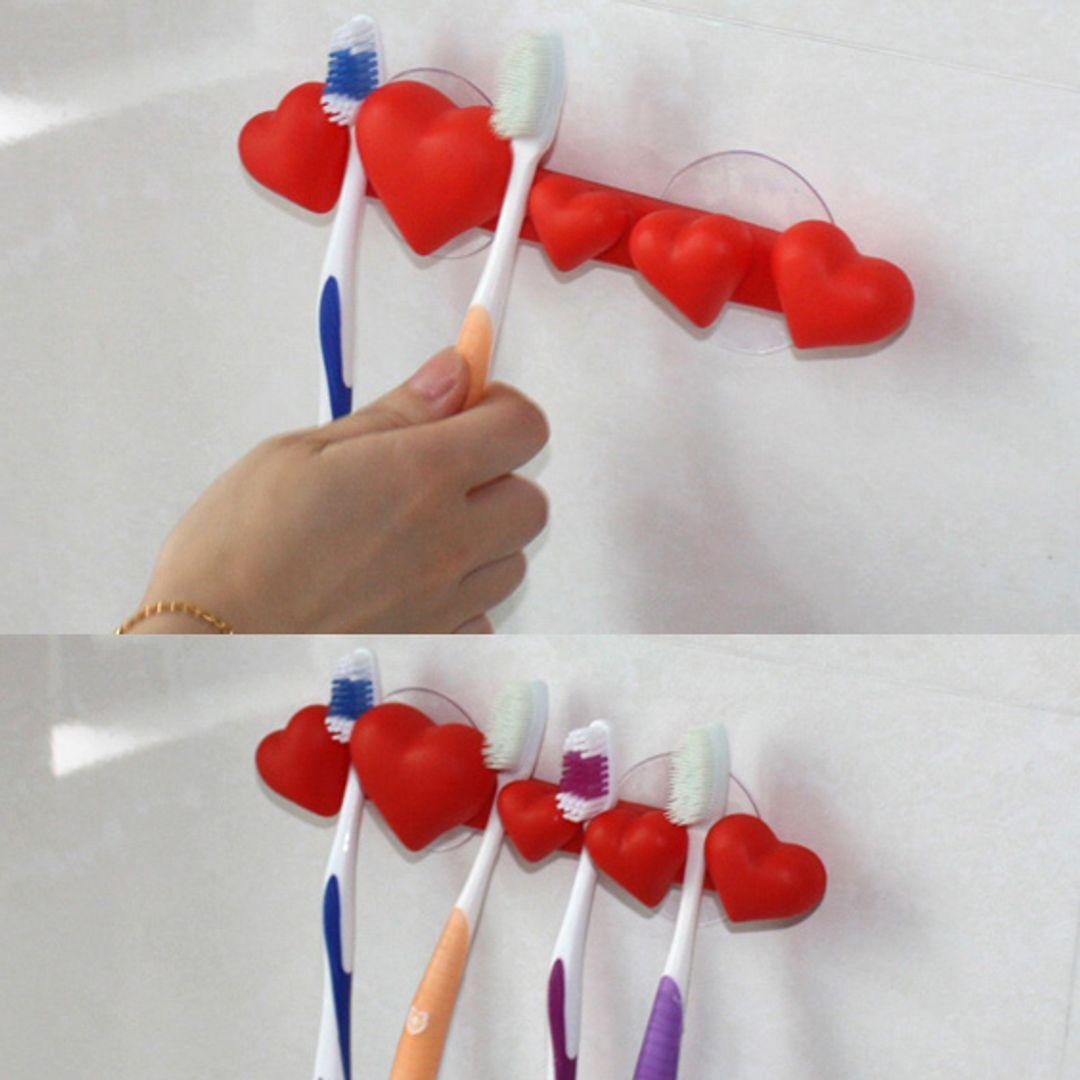 Держатель для зубных щеток Сердечки (Красный) Как поместить щетки в держатель