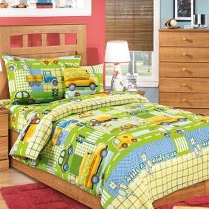 Детское постельное белье Дом снов Машинки на зеленом (1,5 сп)