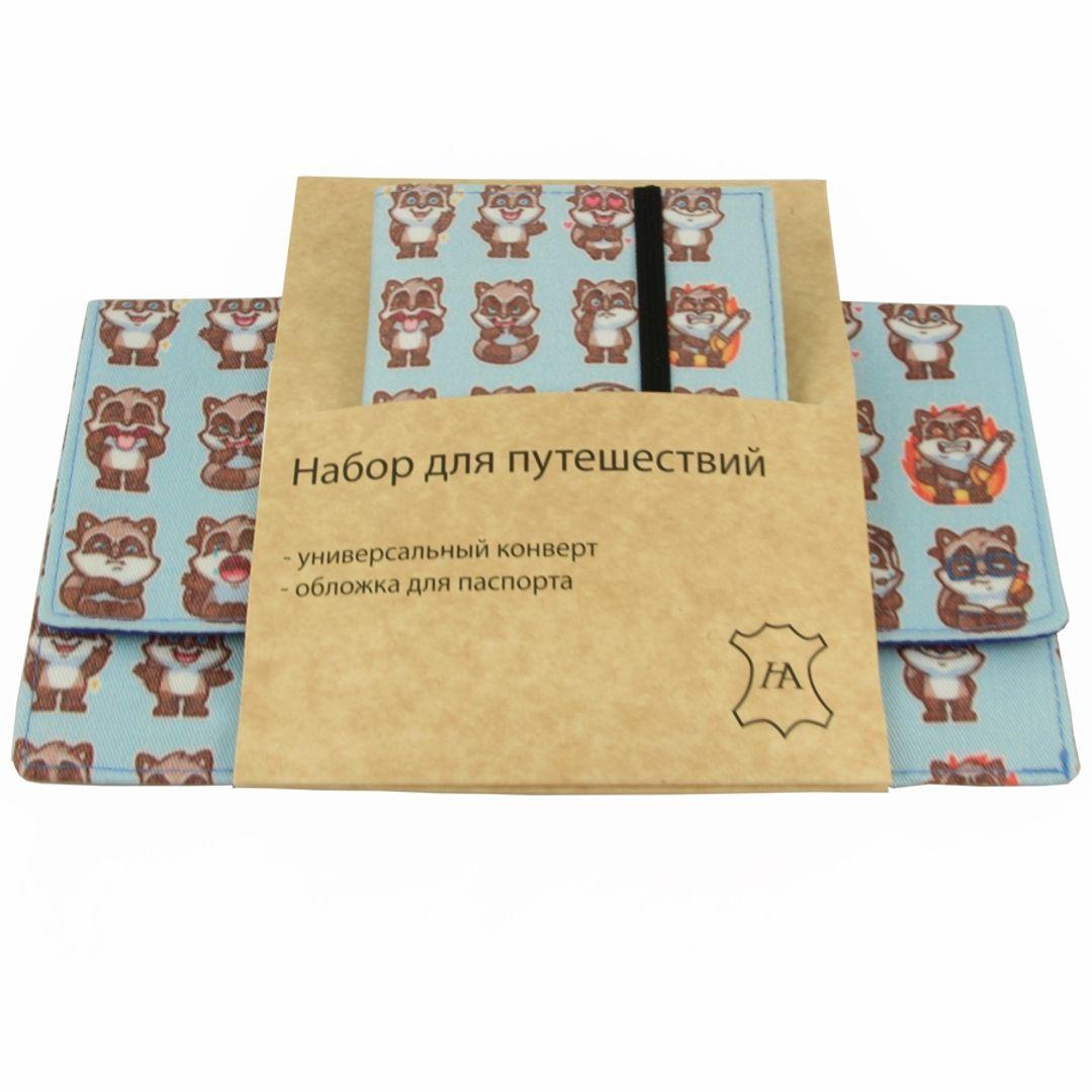 Набор для путешествий Raccoon Конверт и обложка для паспорта в упаковке