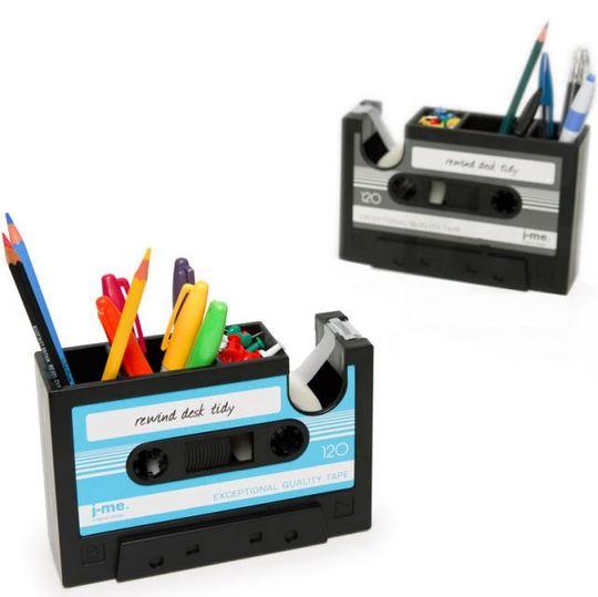 Настольный органайзер Кассета Rewind Desk Tidy (Черный с серым, черный с голубым)
