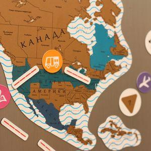 Магнитная Скретч-карта мира True Map Puzzle Gold
