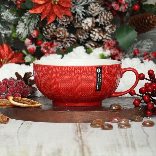 Вязаная кружка-бульонница Для теплых вечеров (Красный)